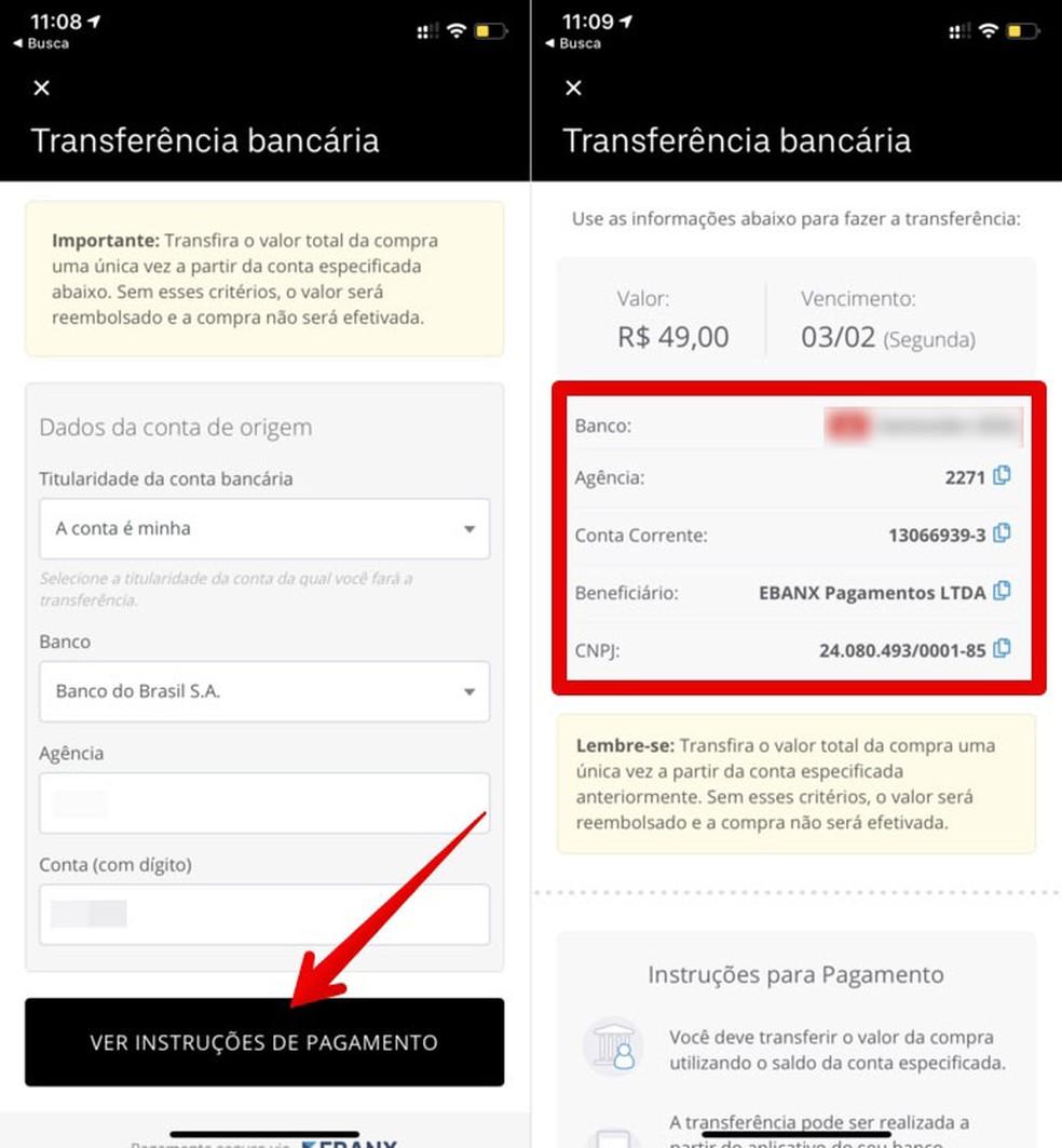 Informações da conta para transferência do dinheiro — Foto: Reprodução/Helito Beggiora