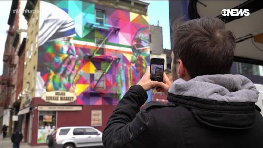 Pedro Andrade mostra novo mural do Kobra nos EUA