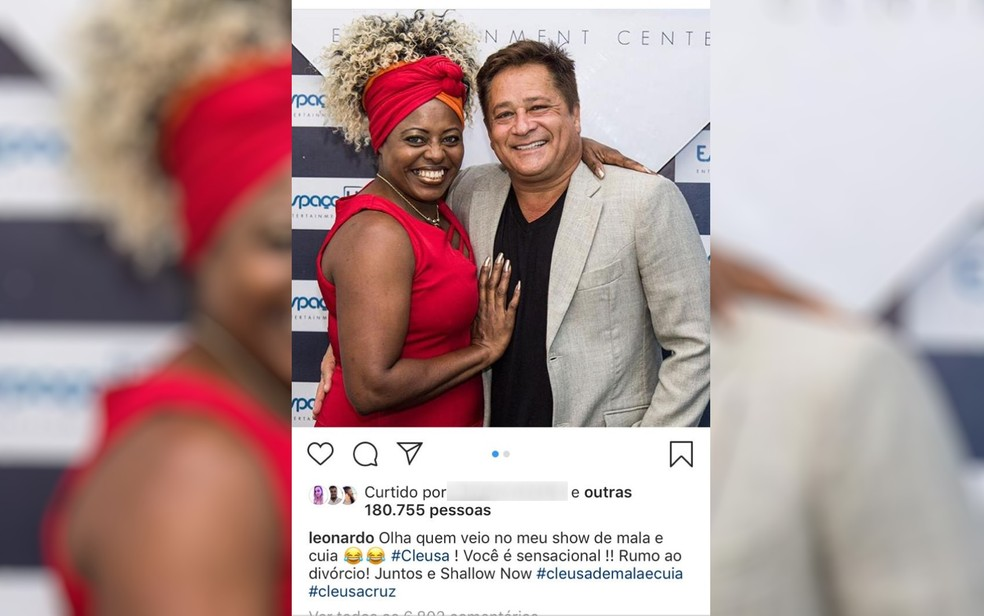 Cantor Lenardo publicou uma foto com a cabeleireira Cleusa Cruz apoiando a busca dela pelo divórcio Formosa Goiás — Foto: Reprodução/Instagram