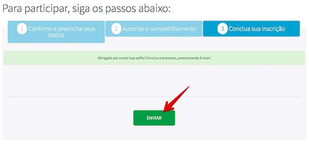 O Consumidor Positivo da Boa Vista exibirá uma mensagem de confirmação após o carregamento da foto (Foto: Reprodução/Helito Bijora)
