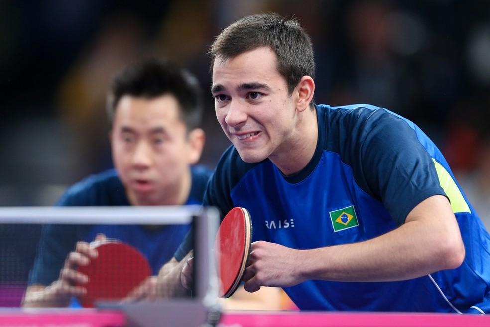 Hugo Calderano e Gustavo Tsuboi no tênis de mesa — Foto: Abelardo Mendes Jr / rededoesporte.gov