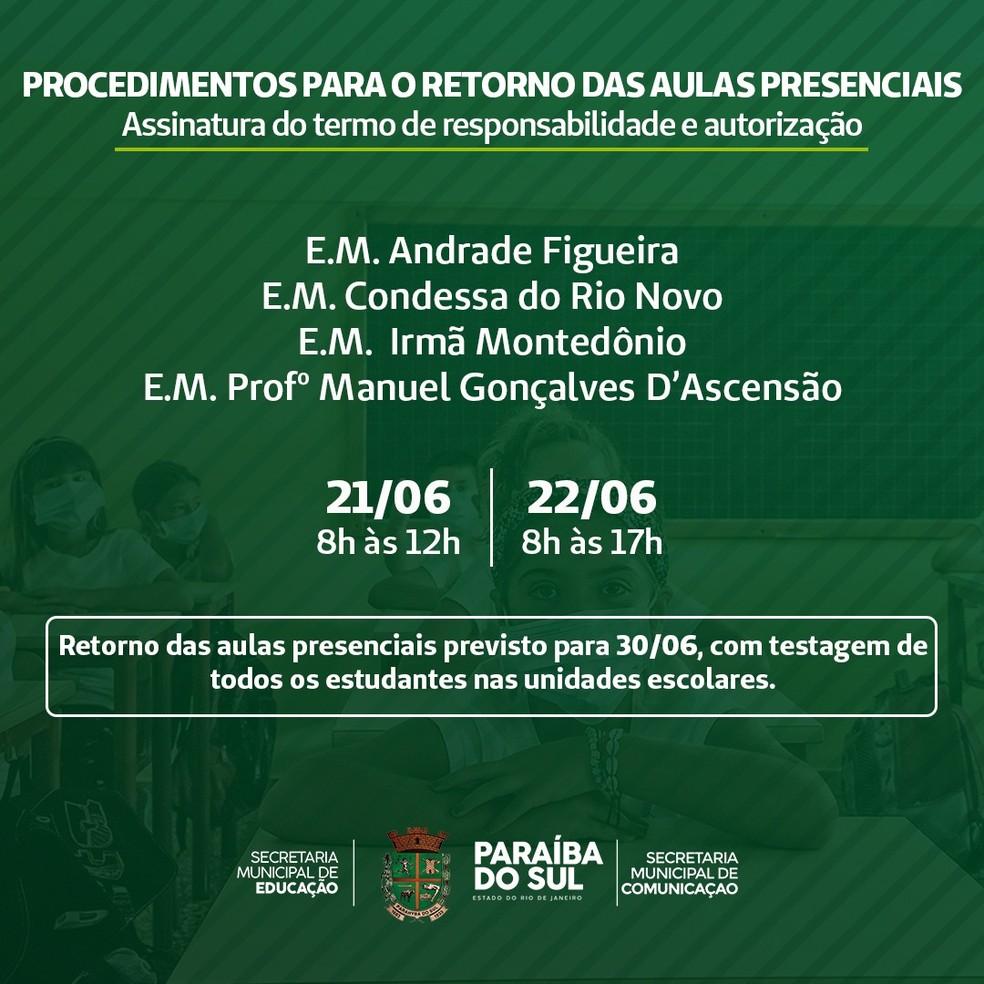 Paraíba do Sul planeja retomar aulas presenciais em quatro escolas municipais no fim do mês — Foto: Divulgação/PMPS