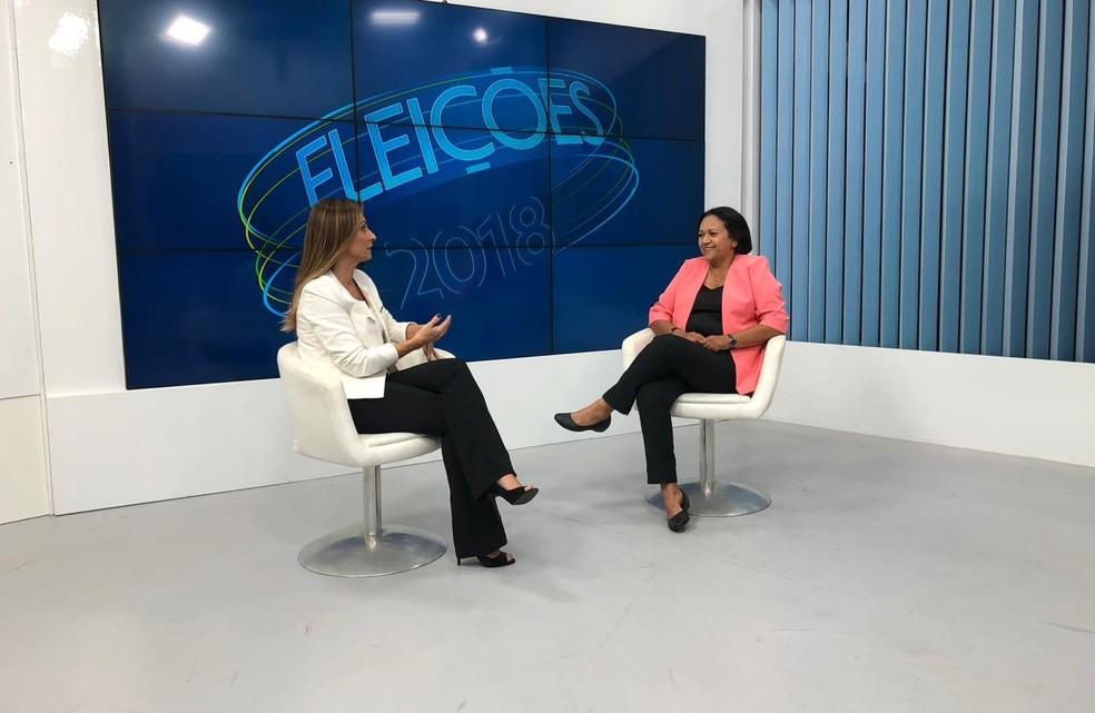 Fátima Bezerra (PT) concedeu segunda entrevista da rodada do RNTV 2ª Edição com os candidatos ao governo do RN no segundo turno — Foto: Fernanda Zaul/G1
