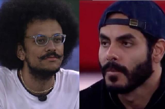 João Luiz e Rodolffo no Jogo da Discórdia, no 'BBB' 21 (Foto: Reprodução)