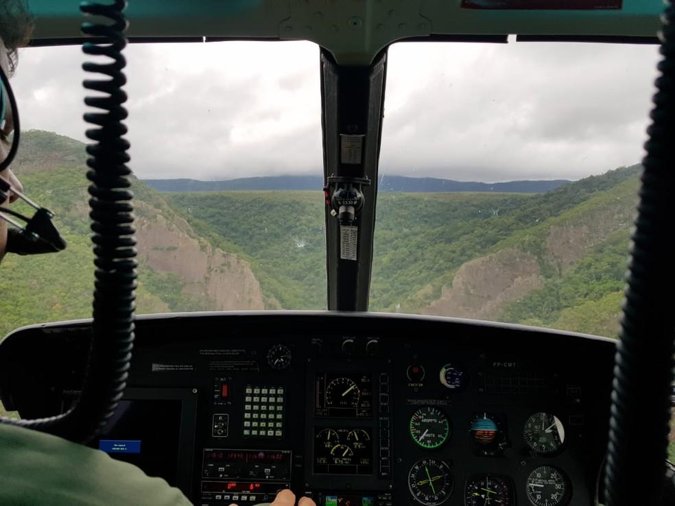Ciopaer faz buscas por aeronave na Serra do Mangaval em Cáceres — Foto: Ciopaer/Divulgação