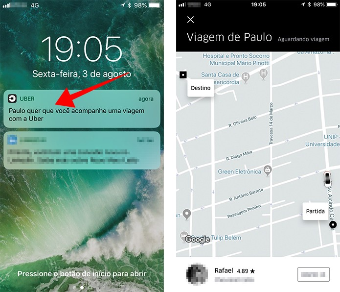 Contatos podem acompanhar sua viagem do Uber no mapa (Foto: Reprodução/Paulo Alves)