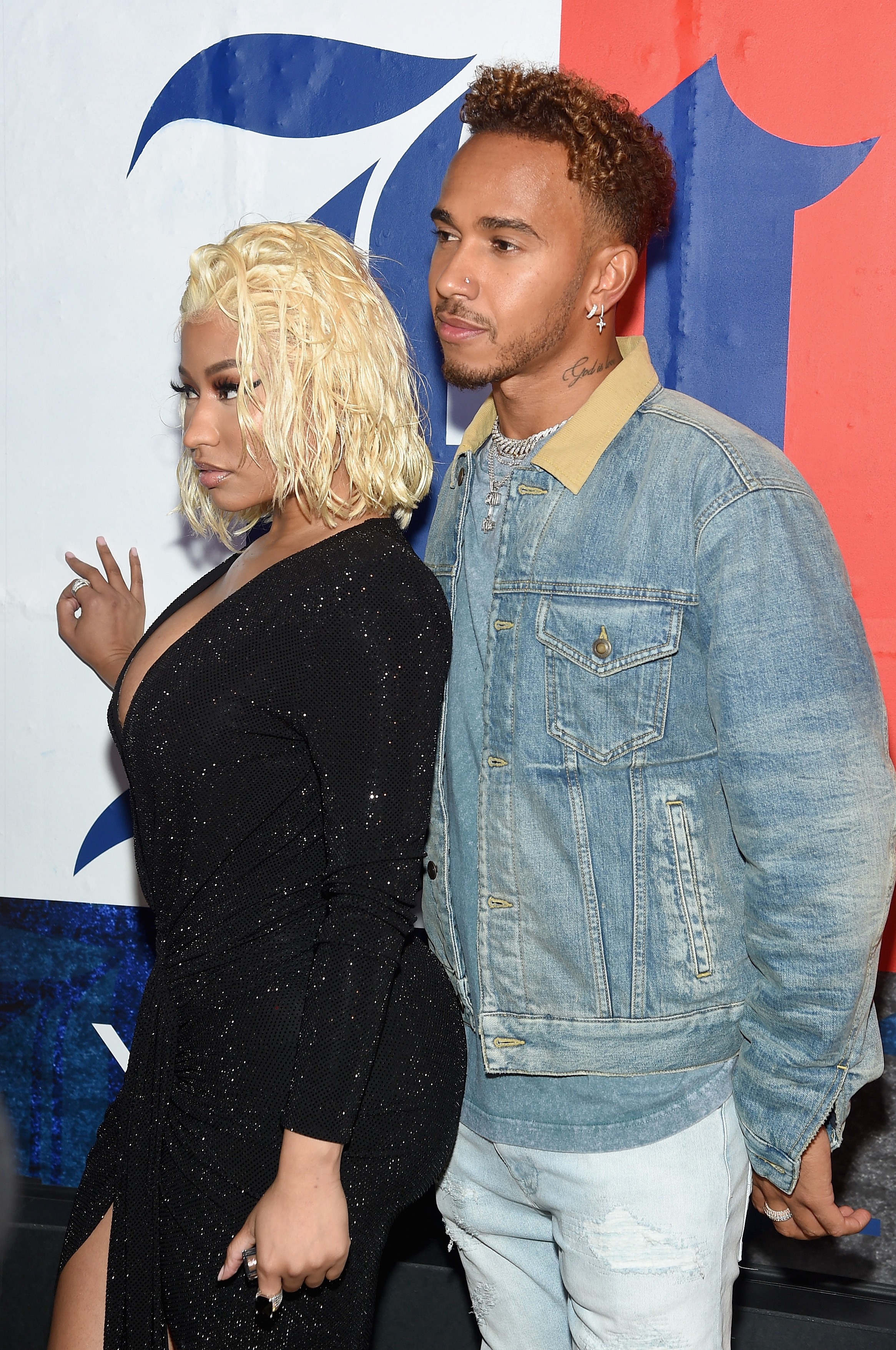 Nicki Minaj e Lewis Hamilton em evento de moda em Nova York (Foto: Getty Images)