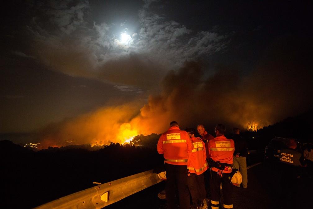 Bombeiros e policiais  olham para um pico em chamas na ilha de Gran Canária, em agosto de 2019 — Foto: Desiree Martin/AFP