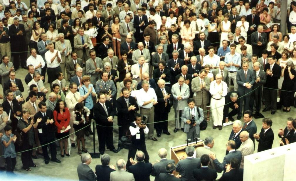 Em 22 de novembro de 1997 a inauguração oficial do Laboratório Nacional de Luz Síncrotron (LNLS) (Foto: Divulgação/CNPEM)
