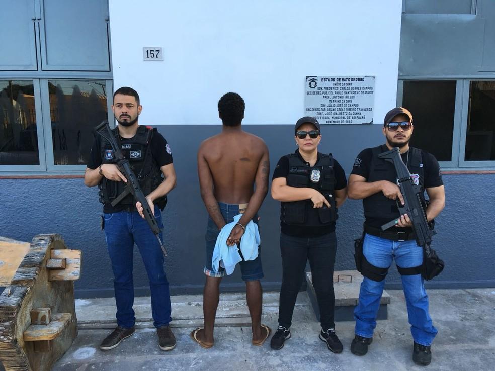 Douglas Monteiro de Campos, de 29 anos, foi preso suspeito de matar comerciante no dia 23 de dezembro de 2017 (Foto: Polícia Civil-MT/ Divulgação)