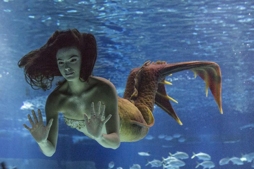 Trabalho de Ritinha (Isis Valverde) como sereia  é descoberto — Foto: Fábio Rocha/Gshow