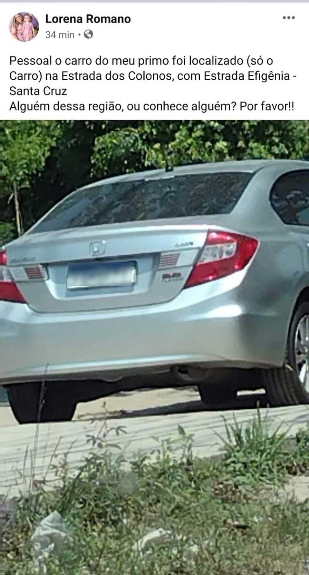 Prima do jovem contou que carro de Alberto foi encontrado em Santa Cruz neste domingo (26) — Foto: Reprodução