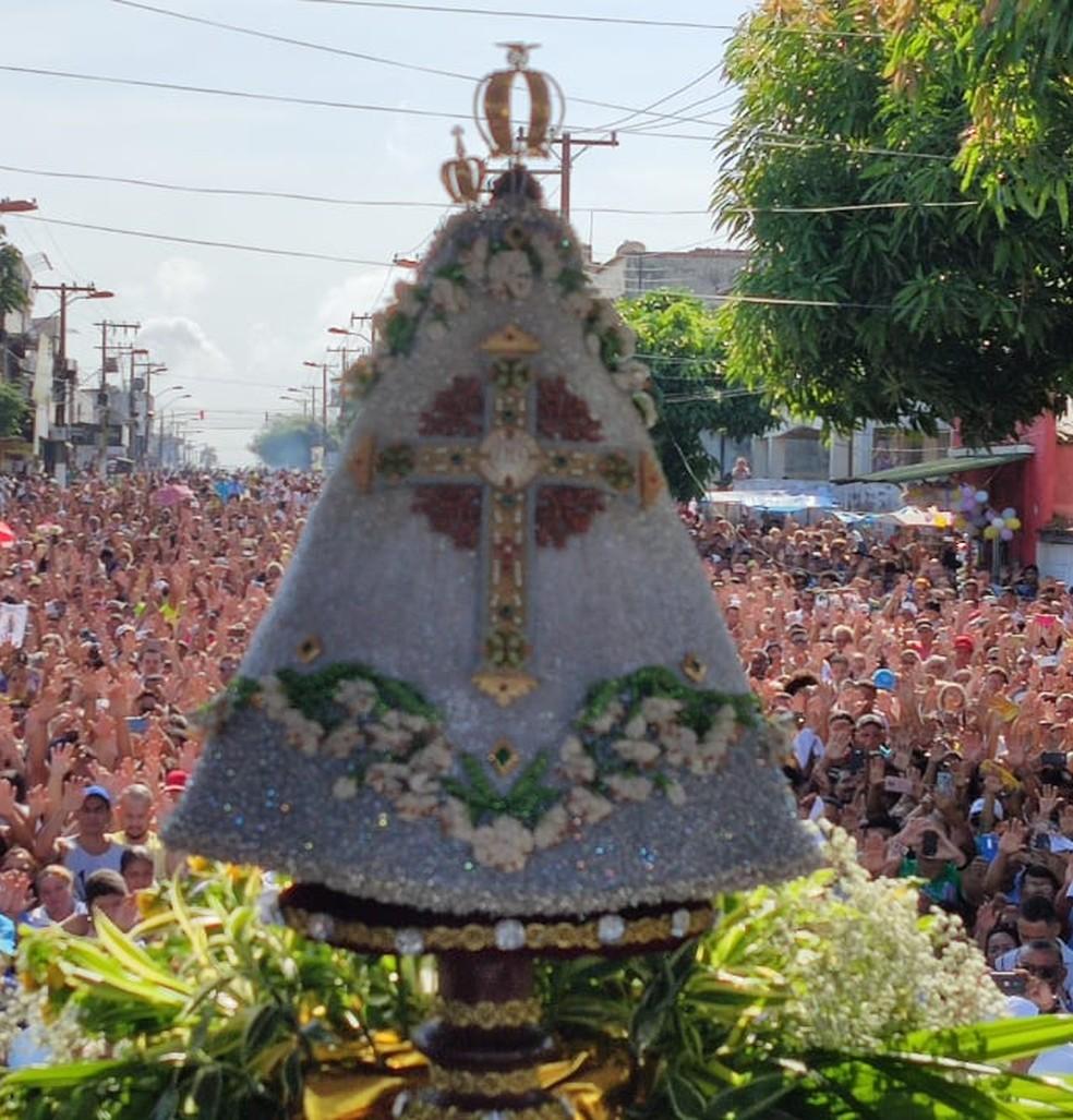 Círio 2019: Imagem Peregrina chega a Icoaraci, onde ume cerimônia é celebrada antes do Círio Fluvial.  — Foto: Gabriel Buenaño/ Ascom Guarda de Nazaré