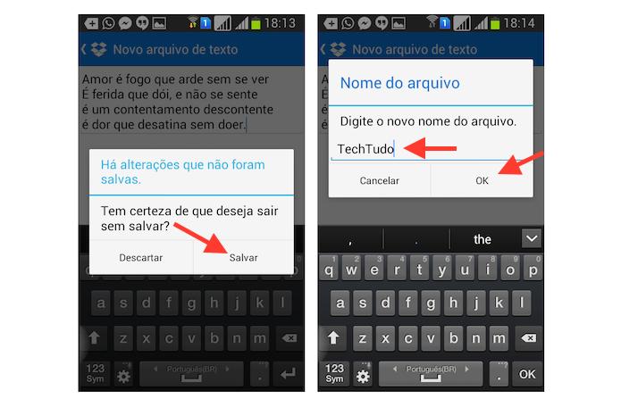 Nomeando e salvando um arquivo de texto criado no Dropbox para Android (Foto: Reprodução/Marvin Costa)