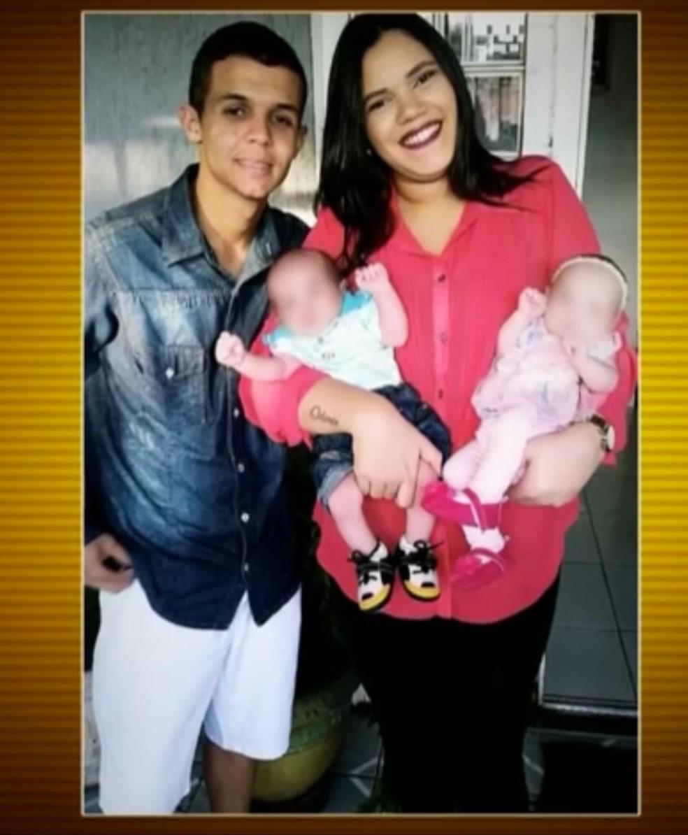 Isabella com os gêmeos; ex-companheiro entrou armado para matá-la — Foto: TV Globo/Reprodução