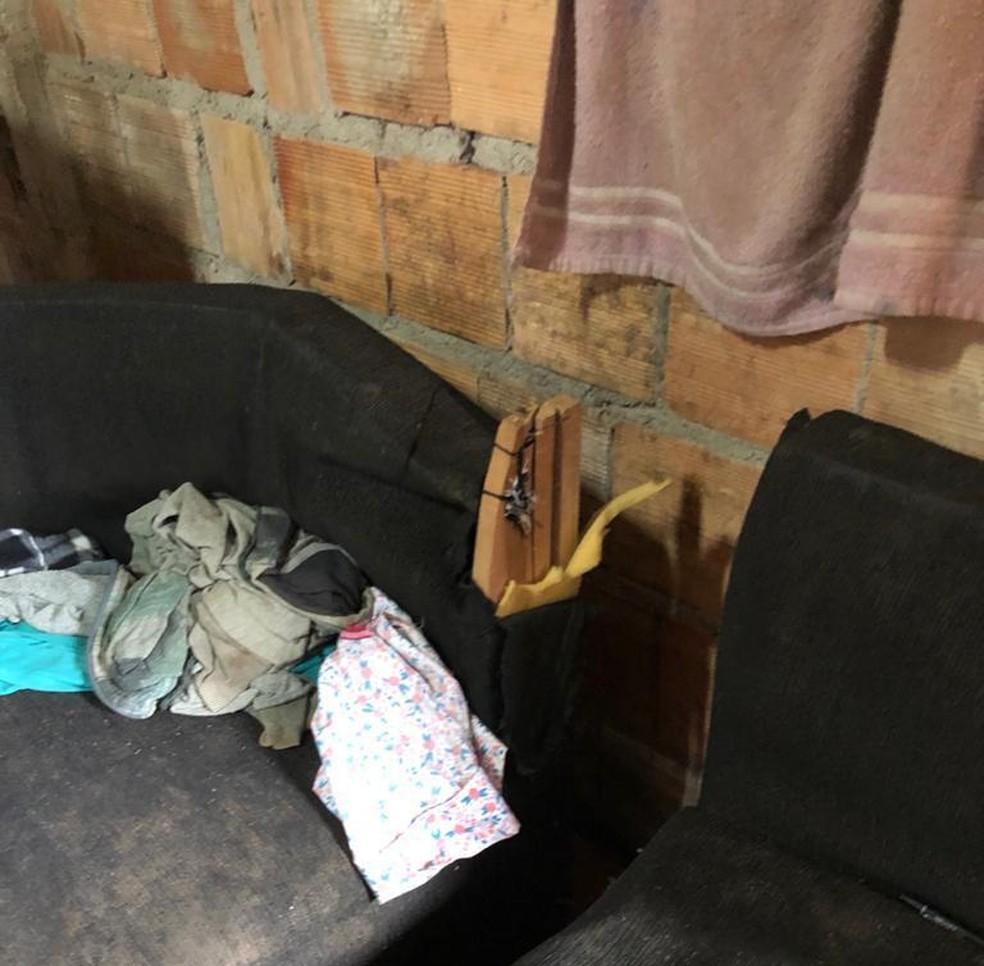 Sofá onde homem teria dado golpe de foice, para intimidar mulher — Foto: PCDF/Divulgação
