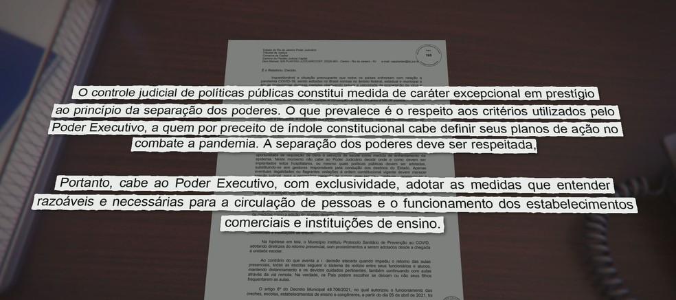 Trecho da decisão judicial que determina a volta às aulas no Rio — Foto: Reprodução/ TV Globo