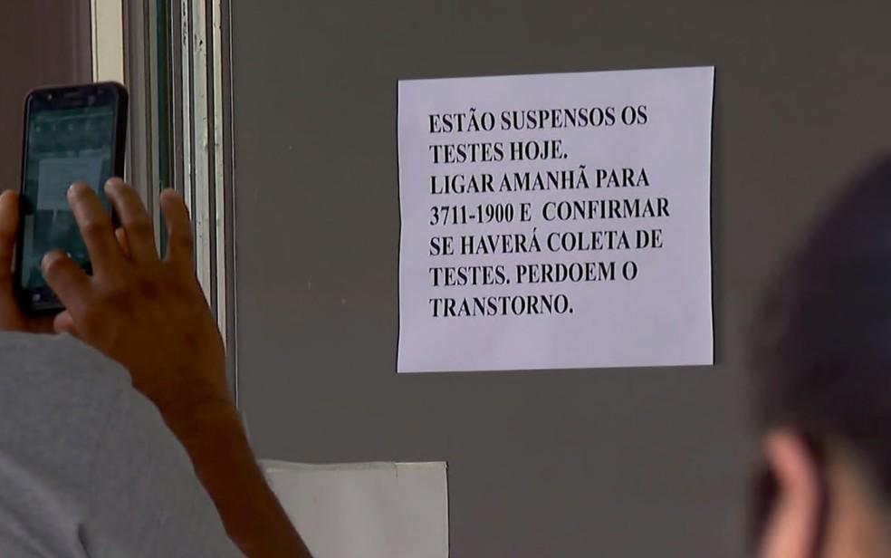 Testes de Covid-19 no PS de Franca, SP, chegaram a ser suspensos nesta terça-feira (13) — Foto: Jefferson Severiano Neves/EPTV