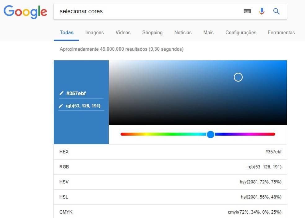 Google tem paleta que permite escolher cores direto no buscador (Foto: Reprodução/Rodrigo Fernandes)