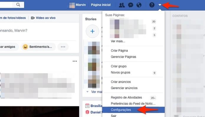Ação para acessar as configurações do Facebook (Foto: Reprodução/Marvin Costa)