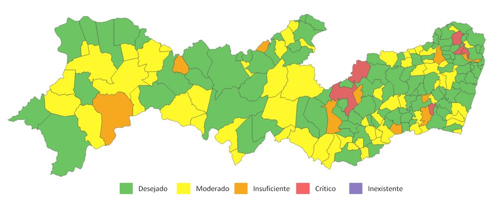 Mapa mostra o Nível de Transparência das prefeituras dos municípios pernambucanos — Foto: Reprodução/TCE