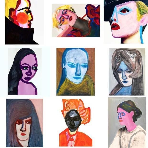 Obras de Christina Zimpel para o Prêmio CFDA deste ano, que trocou fotos dos convidados por pinturas da artista. (Foto: Instagram Christina Zimpel/ Reprodução)