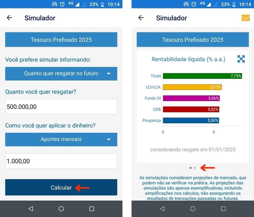Cálculo do investimento no título feito com simulador do Tesouro Direto — Foto: Reprodução/Raquel Freire