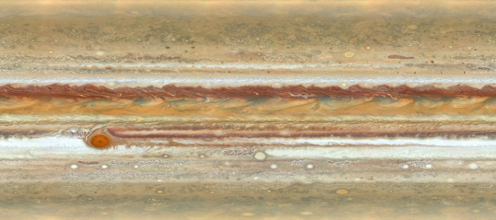 Mancha vermelha em Júpiter na verdade é um furacão — Foto: Nasa