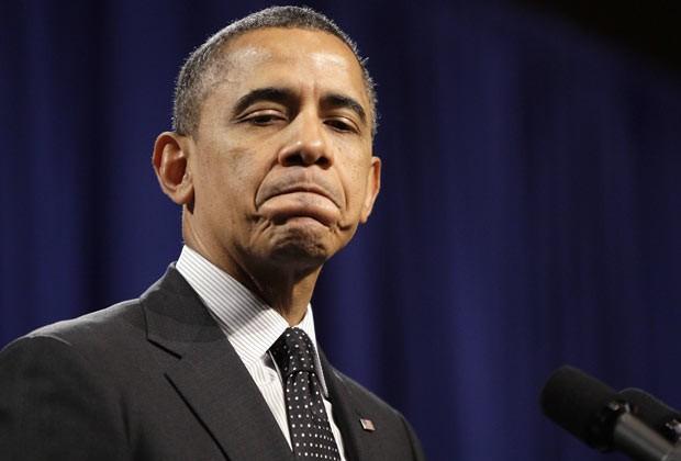 O presidente dos EUA, Barack Obama, fala aos parlamentares democratas em Lansdowne, na Virgínia, nesta quinta-feira (7) (Foto: Reuters)