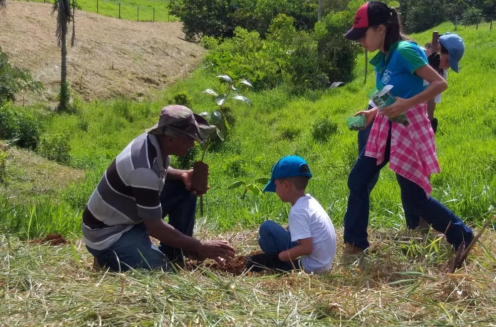 Alexandre Barbosa, de 6 anos, plantando mudas em Jaru (RO). — Foto: Grupo Água Viva/ Divulgação