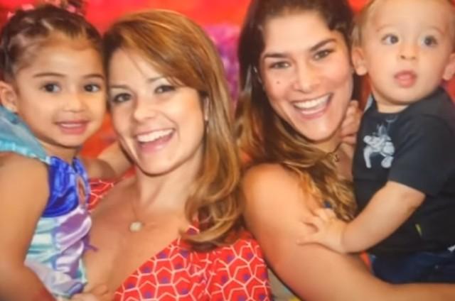 Samra Felippo com Alícia e Priscila Fantin com Romeu (Foto: Reprodução)