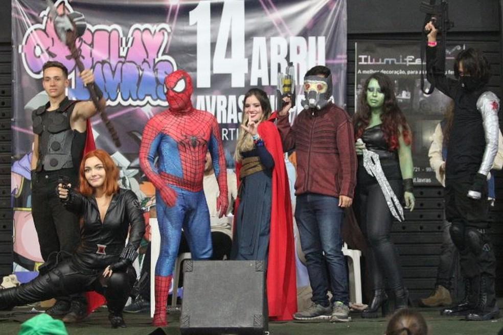 Fãs do mundo geek como cosplay de heróis dos quadrinhos no festival de Lavras (MG) — Foto: Divulgação/Cosplay Lavras