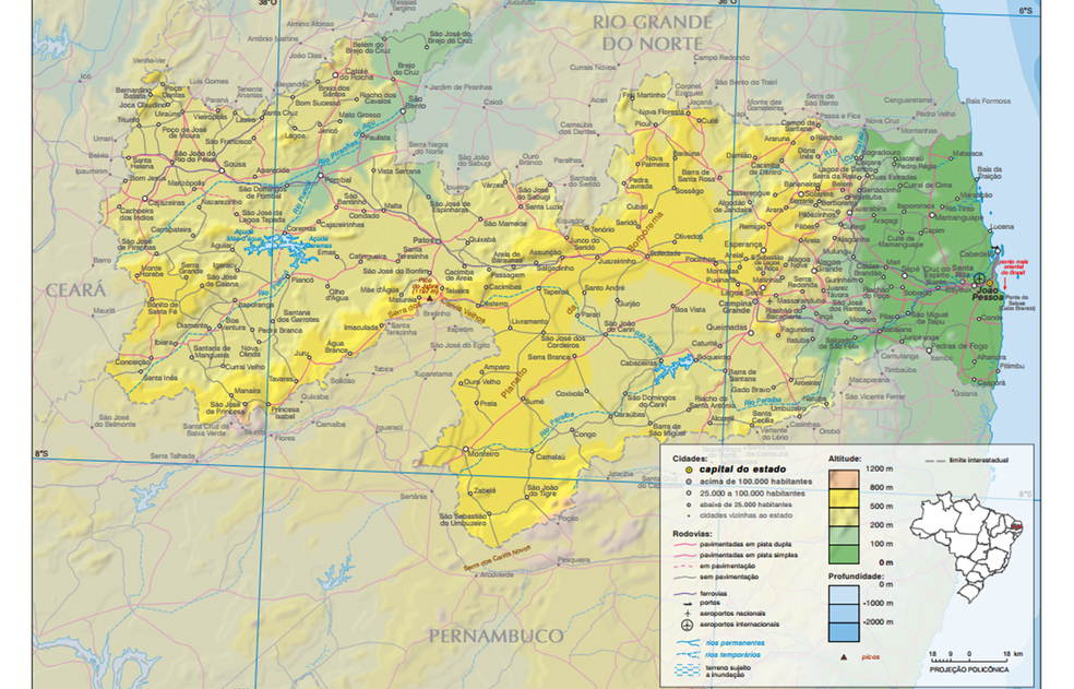 Planalto da Borborema (em amarelo escuro) tem altitudes entre 500 e 800m (Foto: IBGE/Reprodução)