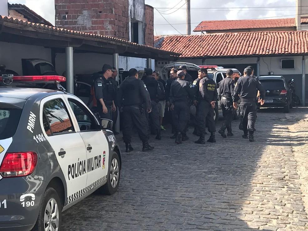 Policiais militares e civis do Rio Grande do Norte cobram reajuste salarial (Foto: Kleber Teixeira/Inter TV Cabugi)