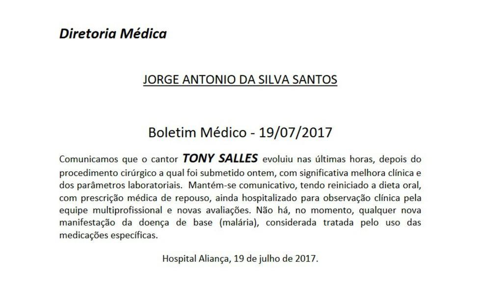 Boletim anunciou que malária está curada (Foto: Reprodução)