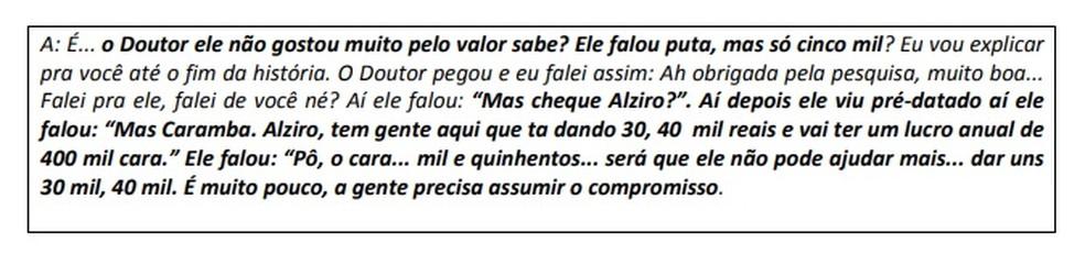 Conversa por telefone entre representante do prefeito de Laranjal Paulista e empresário revela insatisfação com valor pago, aponta relatório da PF (Foto: Polícia Federal/Reprodução)