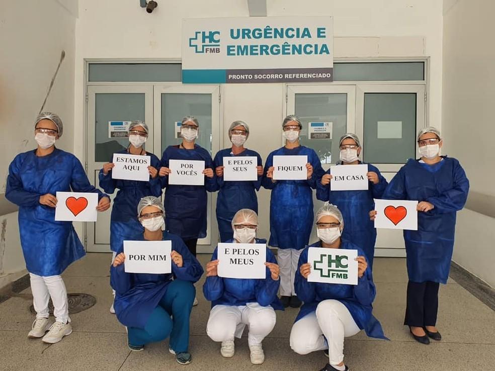 Várias áreas do HC de Botucatu aderiram à campanha contra o coronavírus — Foto: HCFMB/Divulgação
