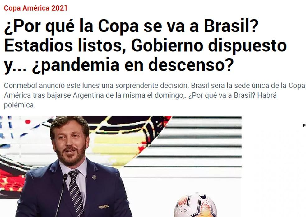 Marca, da Espanha, questiona Copa América no Brasil — Foto: Reprodução