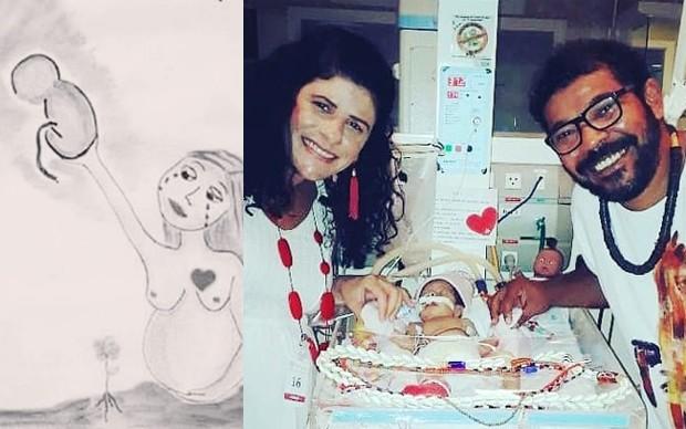 Déborah Sathler e  Tunico da Vila homenageiam a filha Madalena (Foto: Reprodução/Facebook)