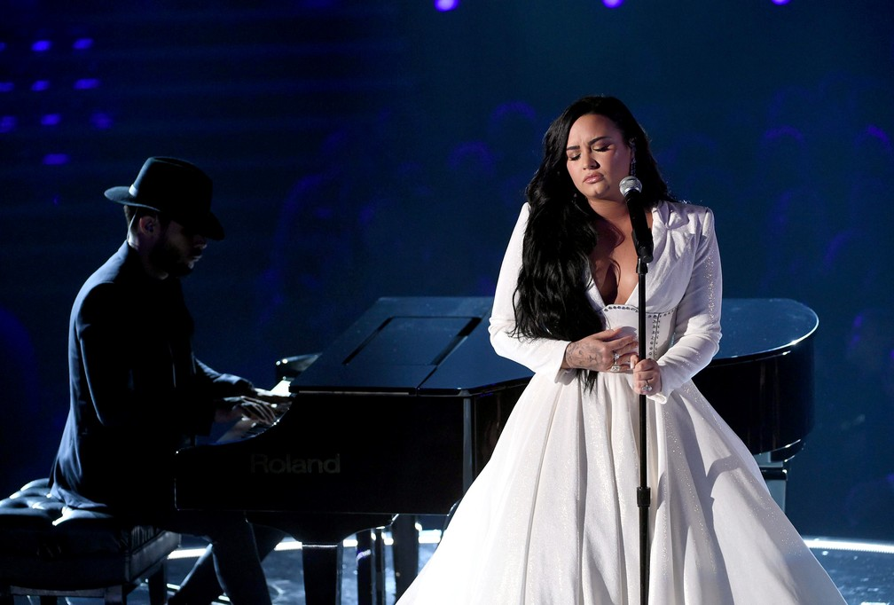 Demi Lovato canta no Grammy 2020 — Foto: KEVIN WINTER / GETTY IMAGES NORTH AMERICA / AFP