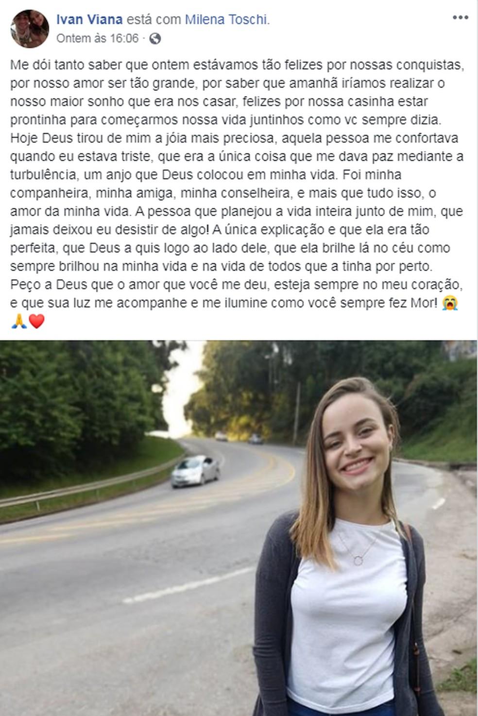 Noivo presta homenagem à noiva que morreu atropelada em Francisco Morato um dia antes do casamento — Foto: Reprodução/Facebook