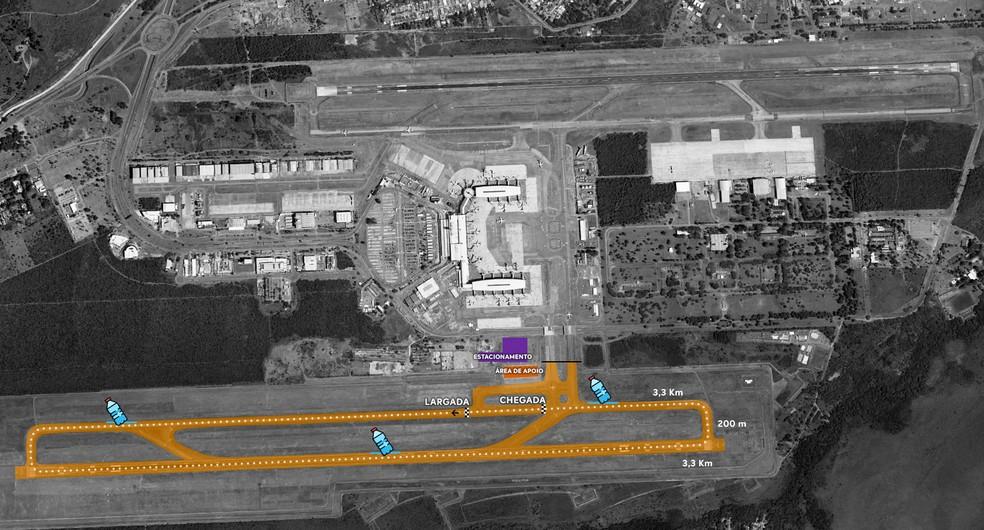 Pista do Aeroporto JK que será fechado para pousos e decolagens durante corrida de rua, em setembro — Foto: Inframérica/ Divulgação