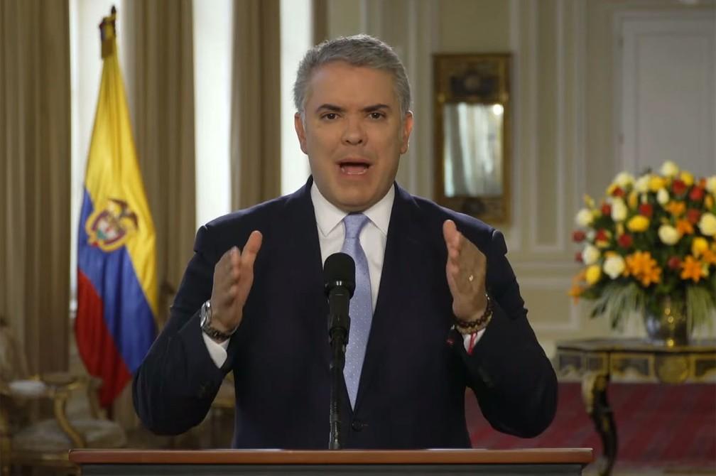 Iván Duque detalha ações contra lideranças das Farc que anunciaram volta à luta armada — Foto: Reprodução/Youtube/Presidência da Colômbia