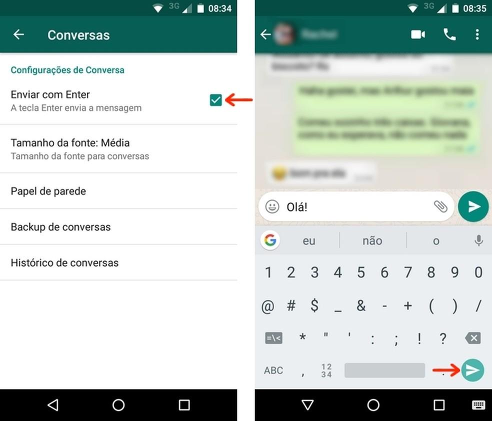 Conversa do WhatsApp para Android configurada para envio com tecla enter (Foto: Reprodução/Raquel Freire)