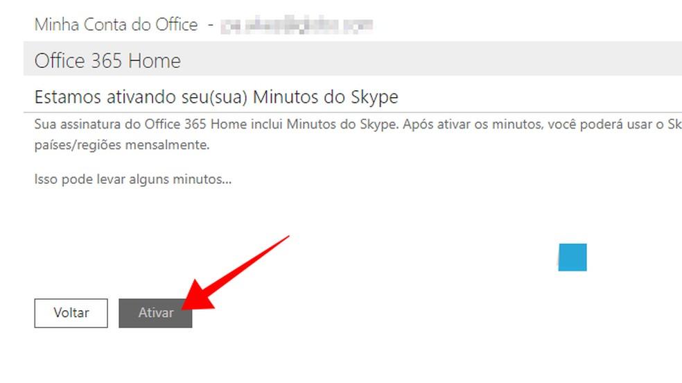 Ative os 60 minutos mensais do Skype — Foto: Reprodução/Paulo Alves