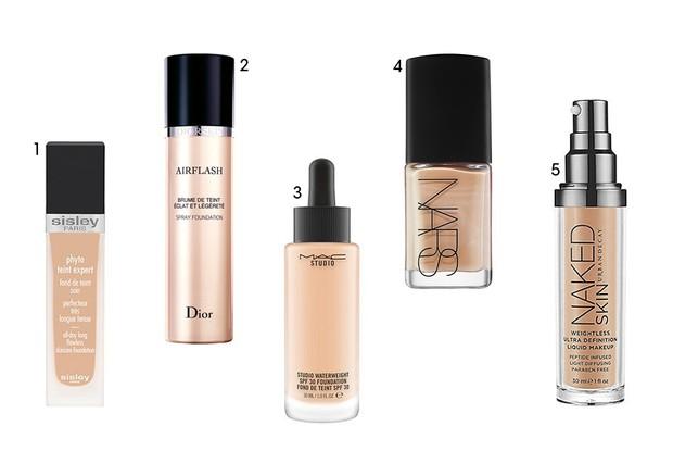 1. Sisley Phyto-Teint Expert (R$ 500,00) 2. Dior Airflash (R$ 299,00) 3. MAC Studio Waterweight (R$ 195,00) 4. NARS Sheer Glow (R$ 257,00) 5. Urban Decay Naked Skin (R$ 239,00) (Foto: Reprodução )
