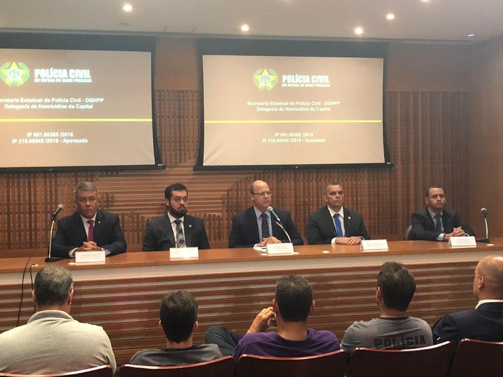 Governador Wilson Witzel em entrevista coletiva sobre a prisão dos dois suspeitos da morte de Marielle e Anderson — Foto: Henrique Coelho / G1