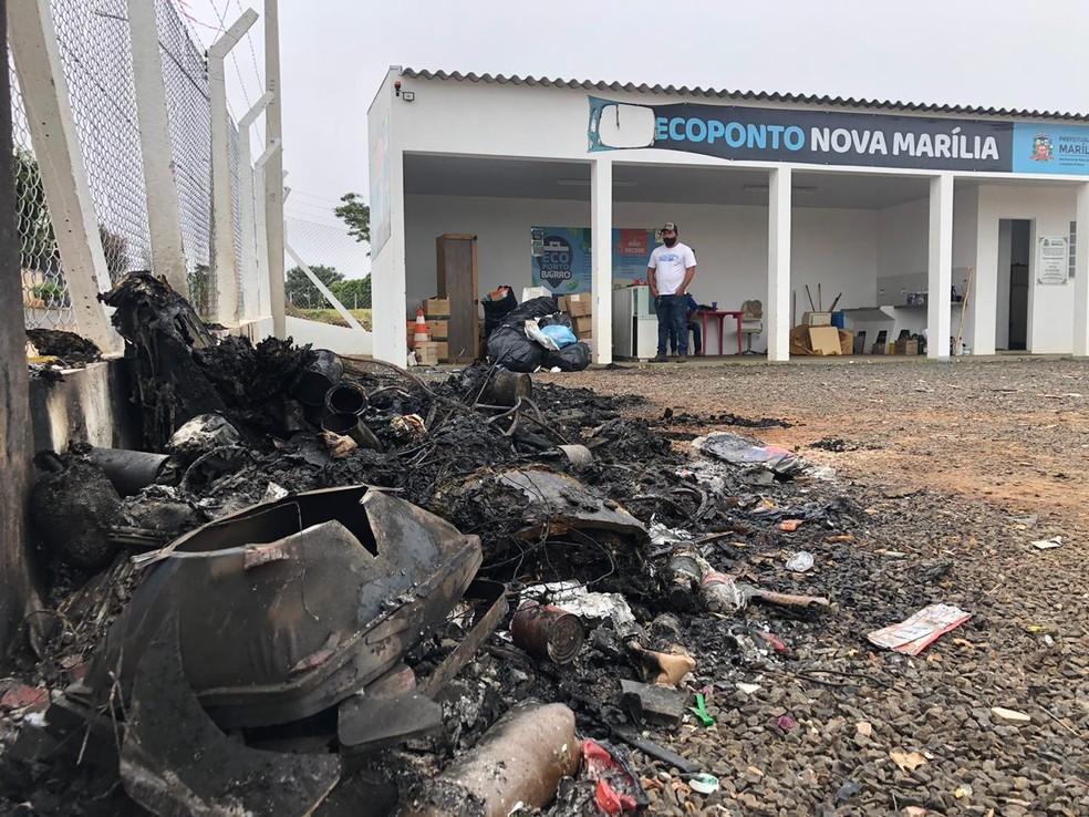 Prefeitura informou que estrutura do ecoponto não foi prejudicada pelo incêndio em Marília — Foto: Prefeitura de Marília/Divulgação