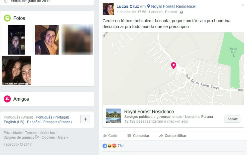 Jovem gasta R$ 1.500 com táxi do Mato Grosso do Sul ao Paraná (Foto: Reprodução Facebook)