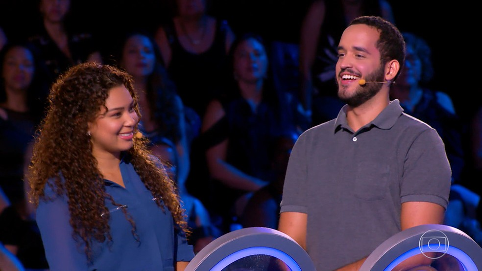 Julio e Fernanda disputaram o 'The Wall' — Foto: TV Globo
